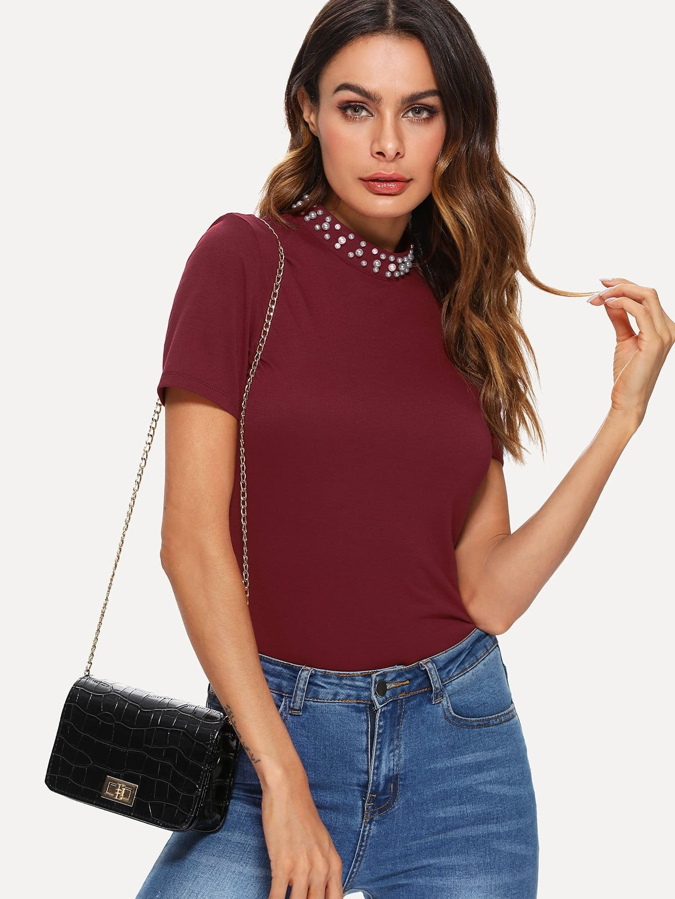 Pearl Detail Mock Neck Tee lace up mock neck tee
