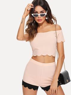 Scalloped Crop Bardot Top And Contrast Hem Shorts Set