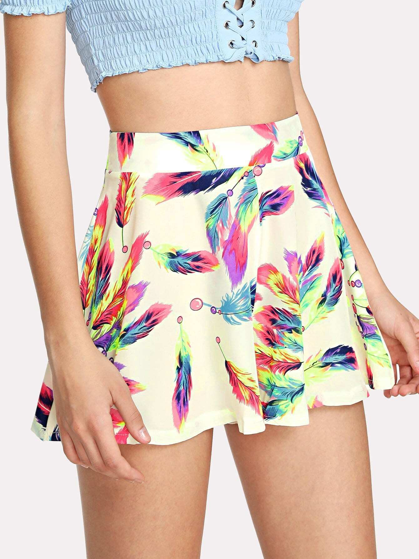 Feather Print Zip Up Back Shorts lace up front zip back design shorts
