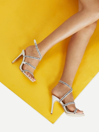 Strappy Stiletto Heels With Alphabet Tape