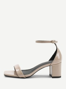 Square Toe Chunky Heeled Sandals
