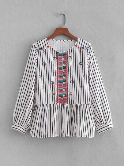 Striped Embroidery Pom Pom Detail Blouse