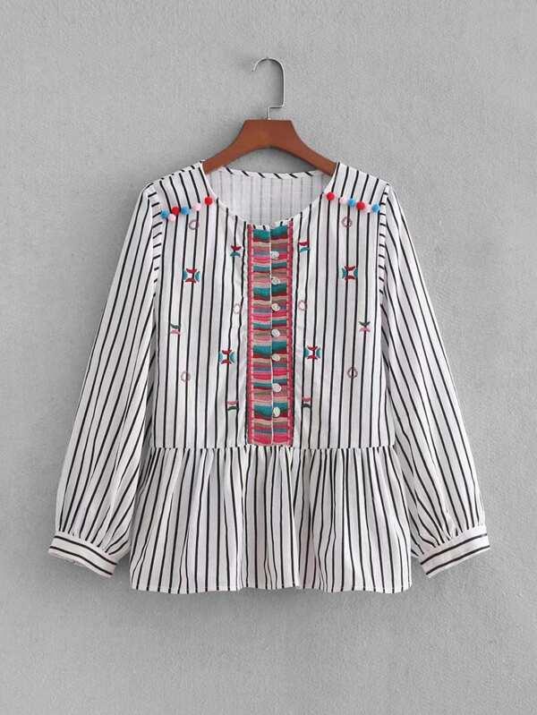 Striped Embroidery Pom Pom Detail Blouse by Sheinside