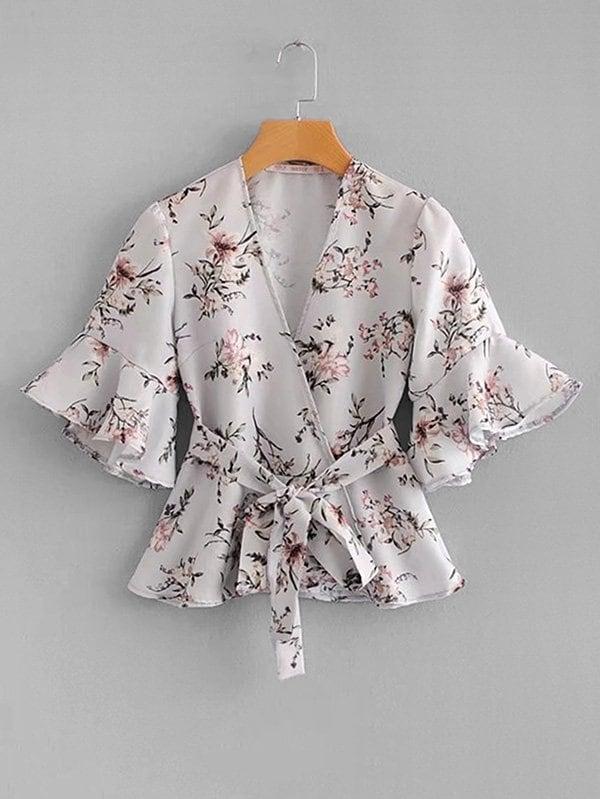 Botanical Print Ruffle Trim Wrap Blouse ruffle trim floral print blouse