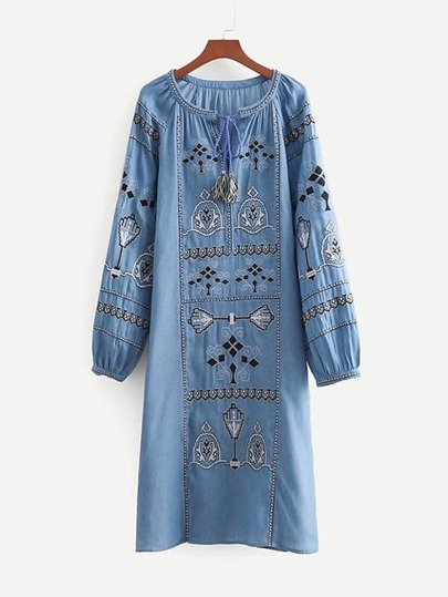 Tassel Tie Embroidered Denim Dress