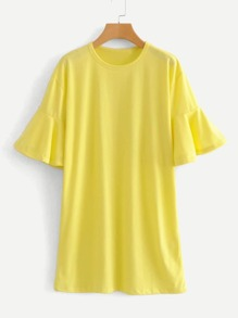 Solid Flounce Sleeve Tee Dress