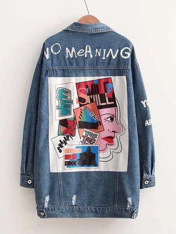 все цены на Letter Print Patched Denim Jacket