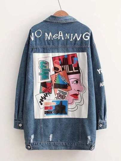 Letter Print Patched Denim Jacket