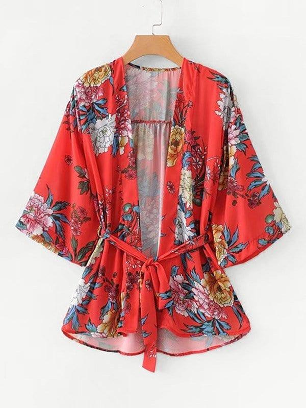 All Over Florals Belted Kimono all over florals dip hem shirt