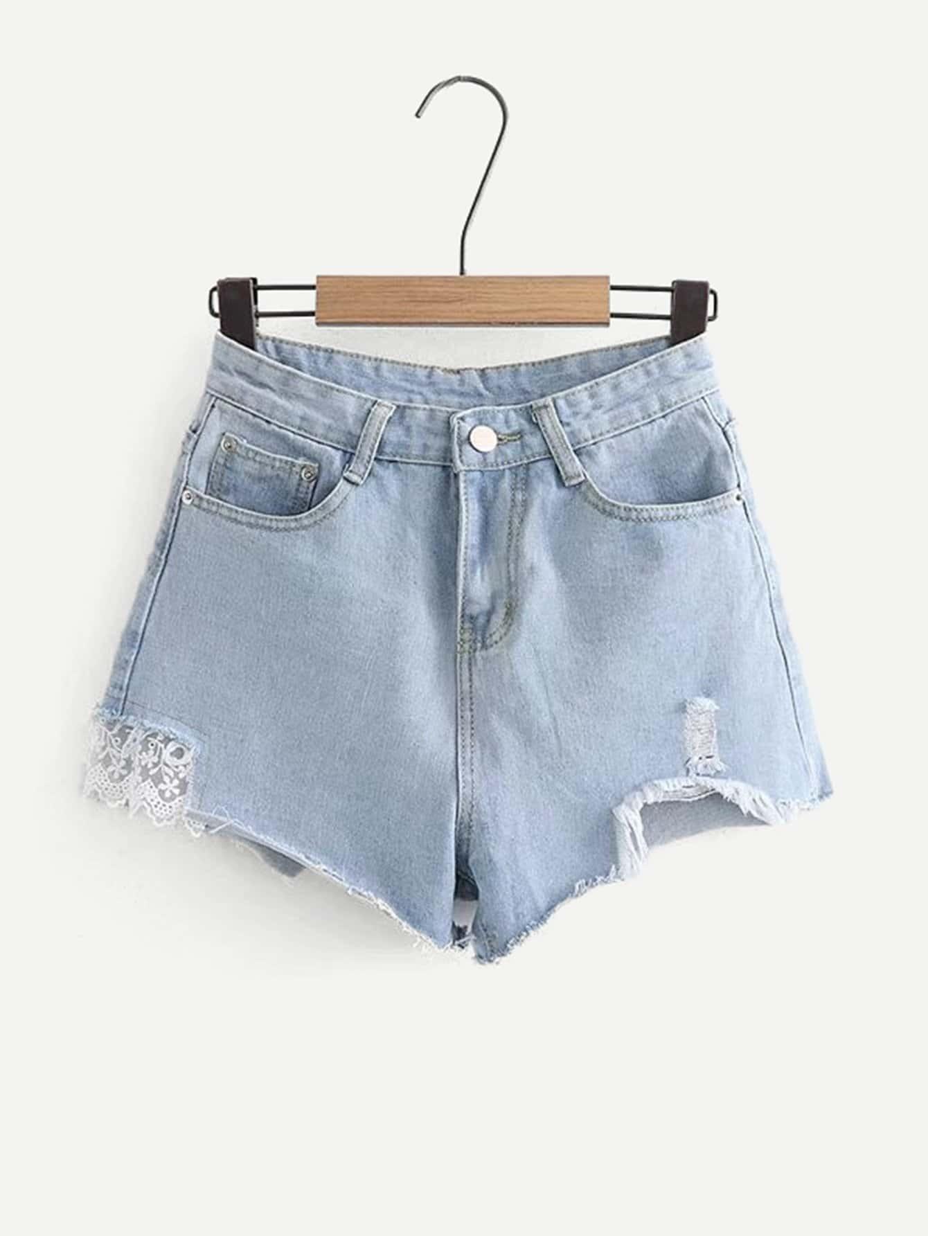 Contrast Lace Raw Hem Denim Shorts lace hem shorts