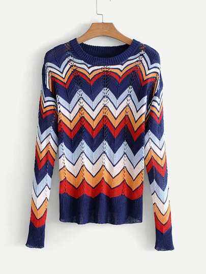 Chevron Stripe Open-Knit Jumper