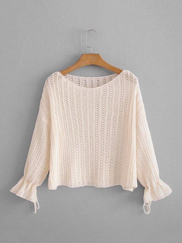 Drop Shoulder Open-Knit Jumper two tone drop shoulder sweatshirt