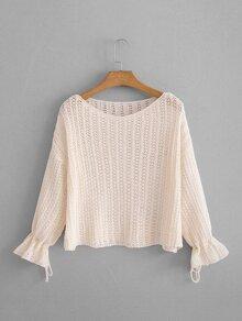 Drop Shoulder Open-Knit Jumper