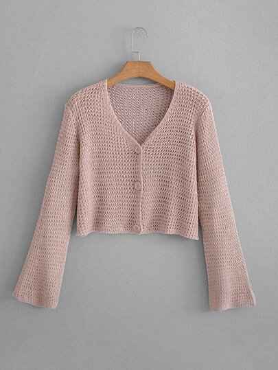 Open-Knit Crop Cardigan