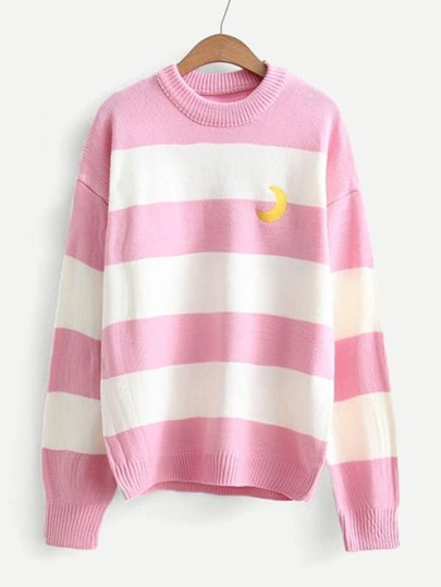 Moon Embroidered Wide Striped Jumper