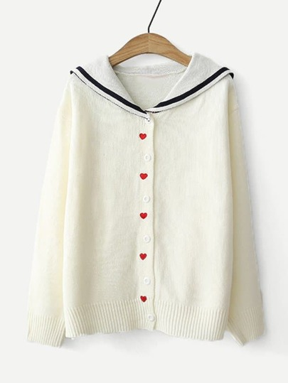 Heart Embroidered Middy Collar Knit Cardigan