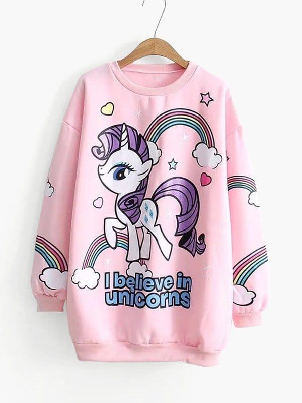 Cartoon Unicorn Pattern Drop Shoulder Pullover two tone drop shoulder sweatshirt