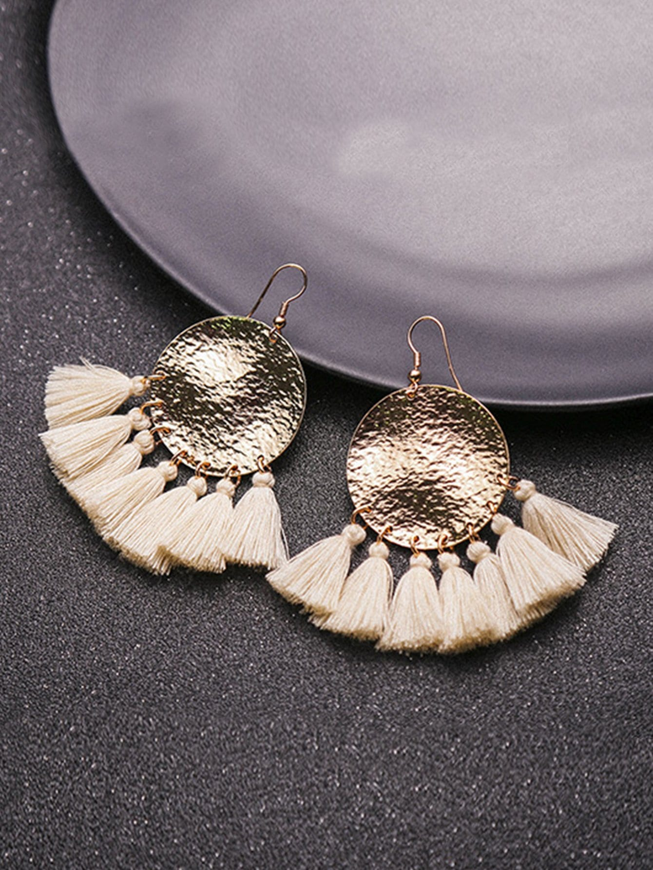 Round Disc Tassel Drop Earrings two tone round flake drop earrings