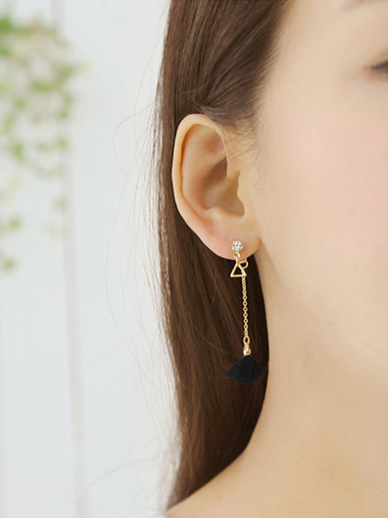 Triangle Detail Tassel Drop Earrings tassel drop rhinestone detail earrings