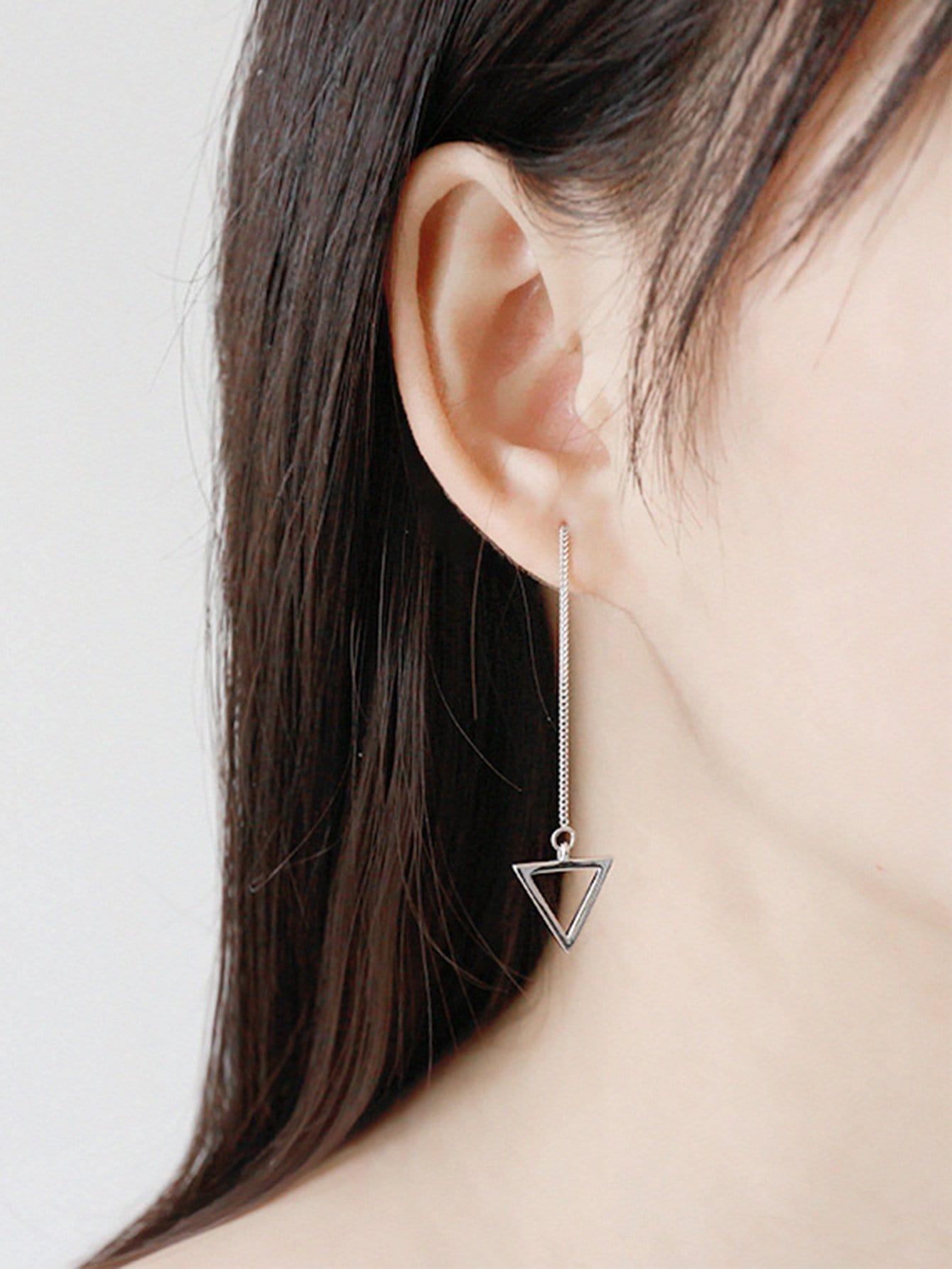 Open Triangle Drop Earrings vintage embossed triangle drop earrings