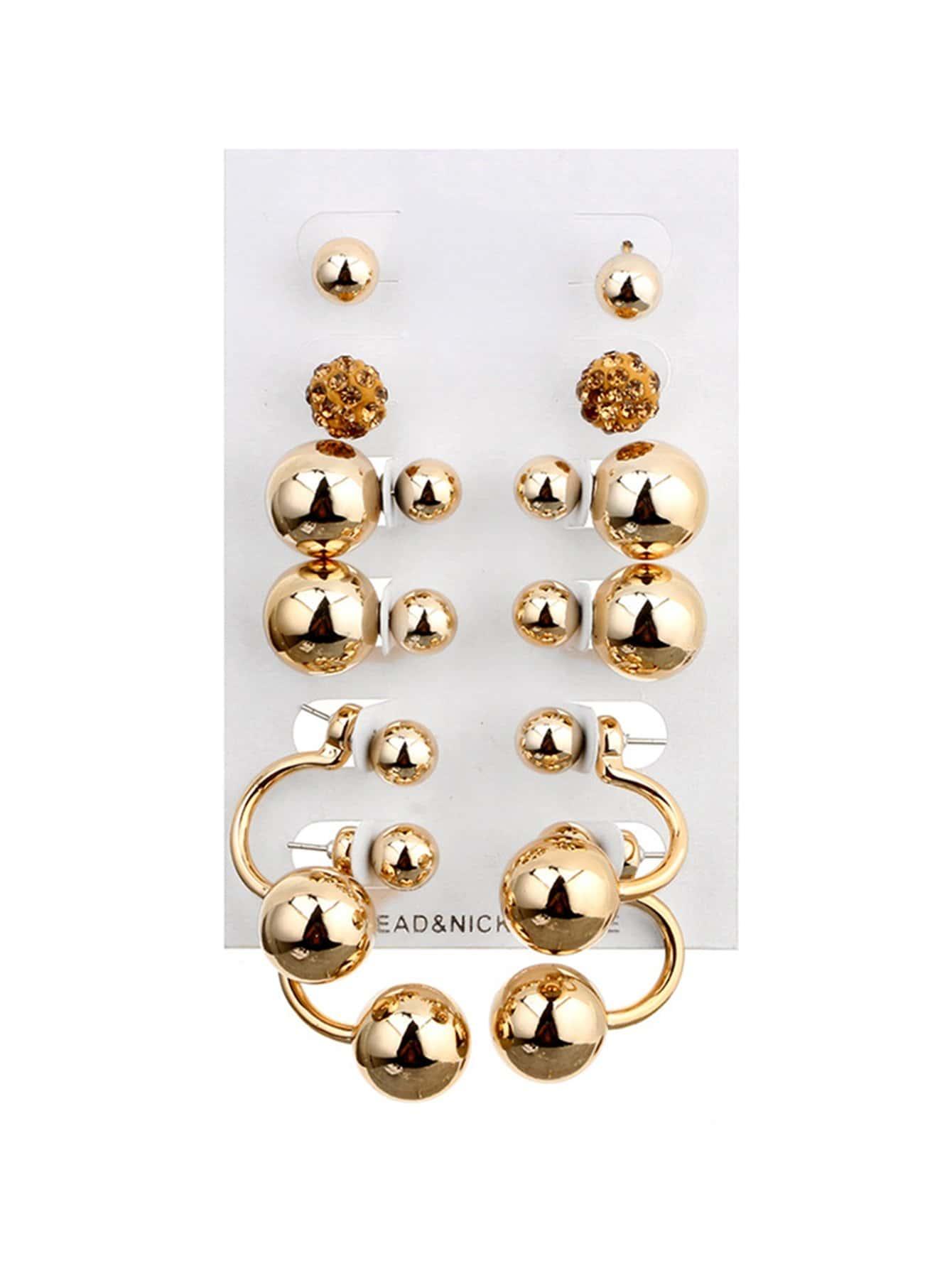 Double Stud Earrings 6pairs globo 33058