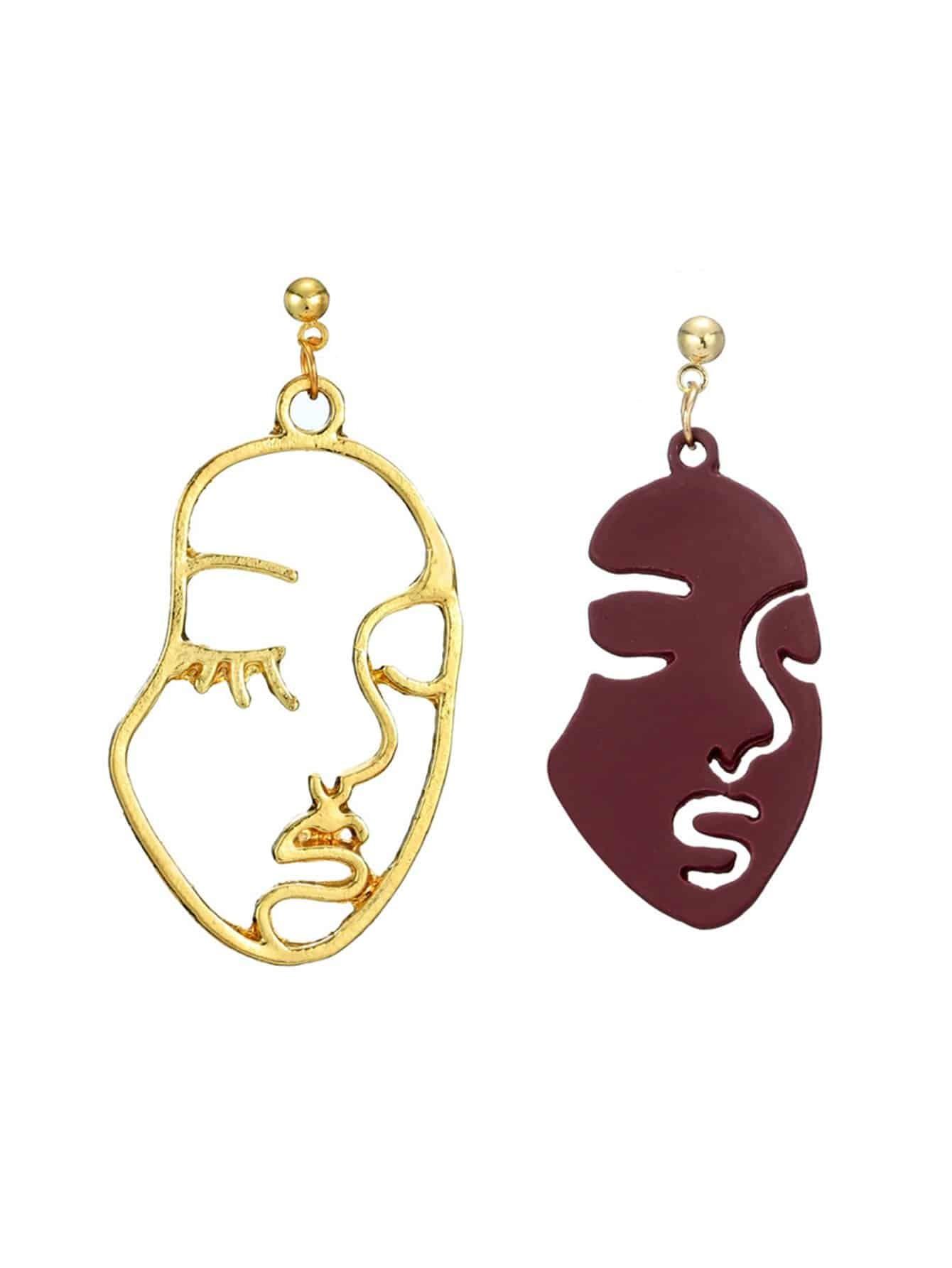 Open Face Drop Earrings two tone face design drop earrings