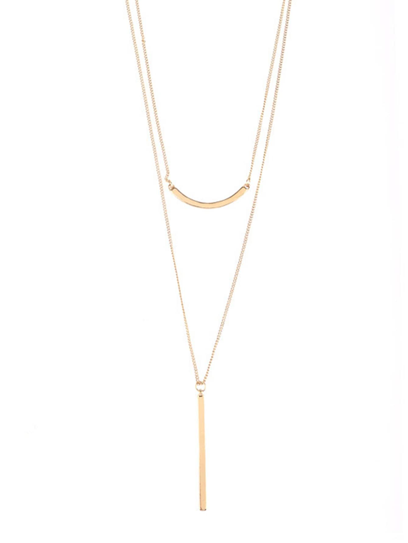 Bar Pendant Layered Chain Necklace cross pendant layered chain necklace