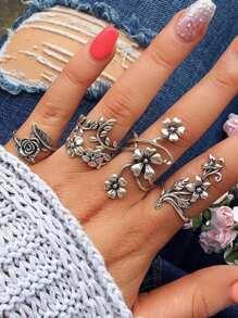 Spiral Flower Wrap Ring Set 4pcs
