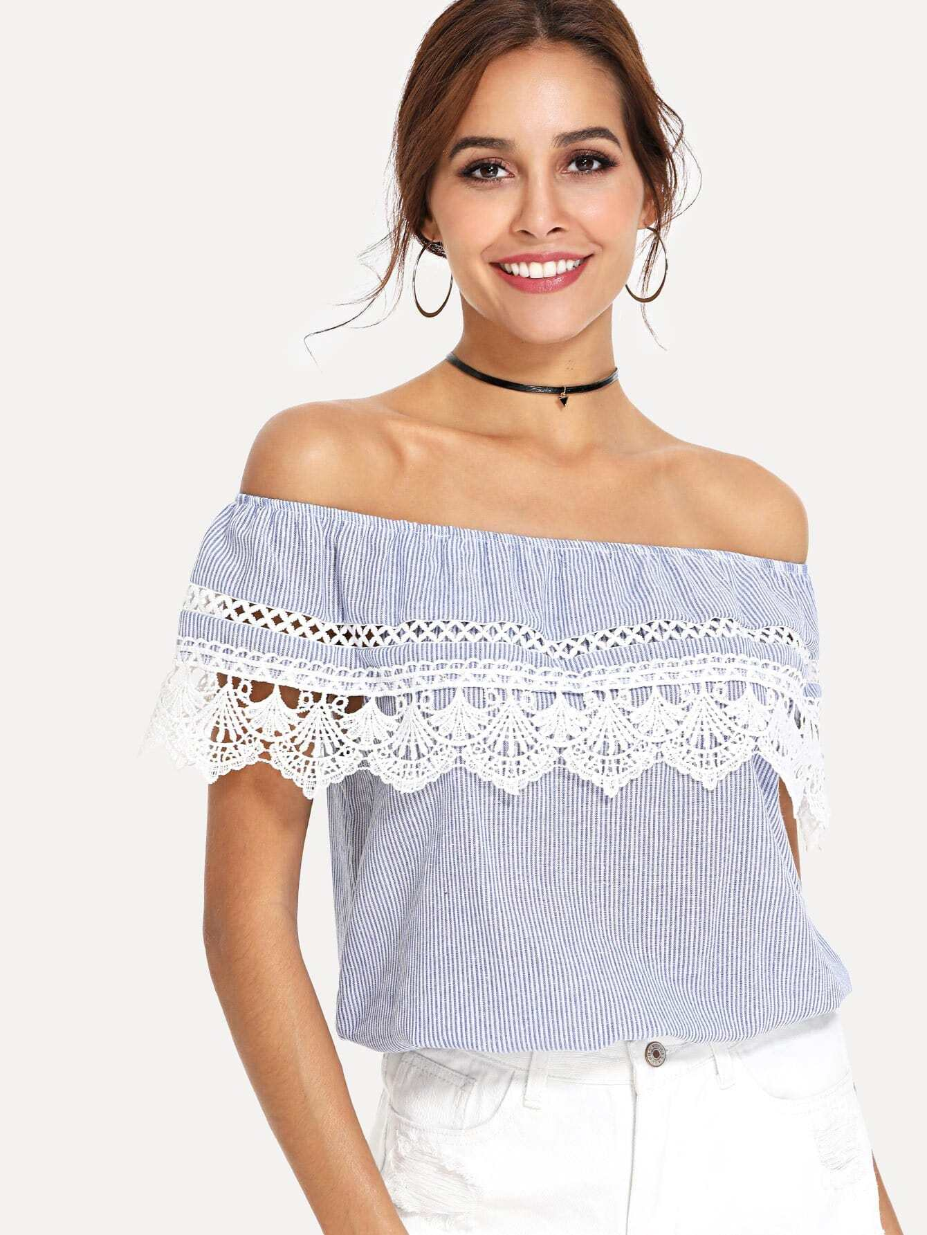 Lace Crochet Contrast Off Shoulder Stripe Blouse lace crochet contrast off shoulder stripe blouse