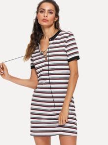 Lace Up Stripe Dress