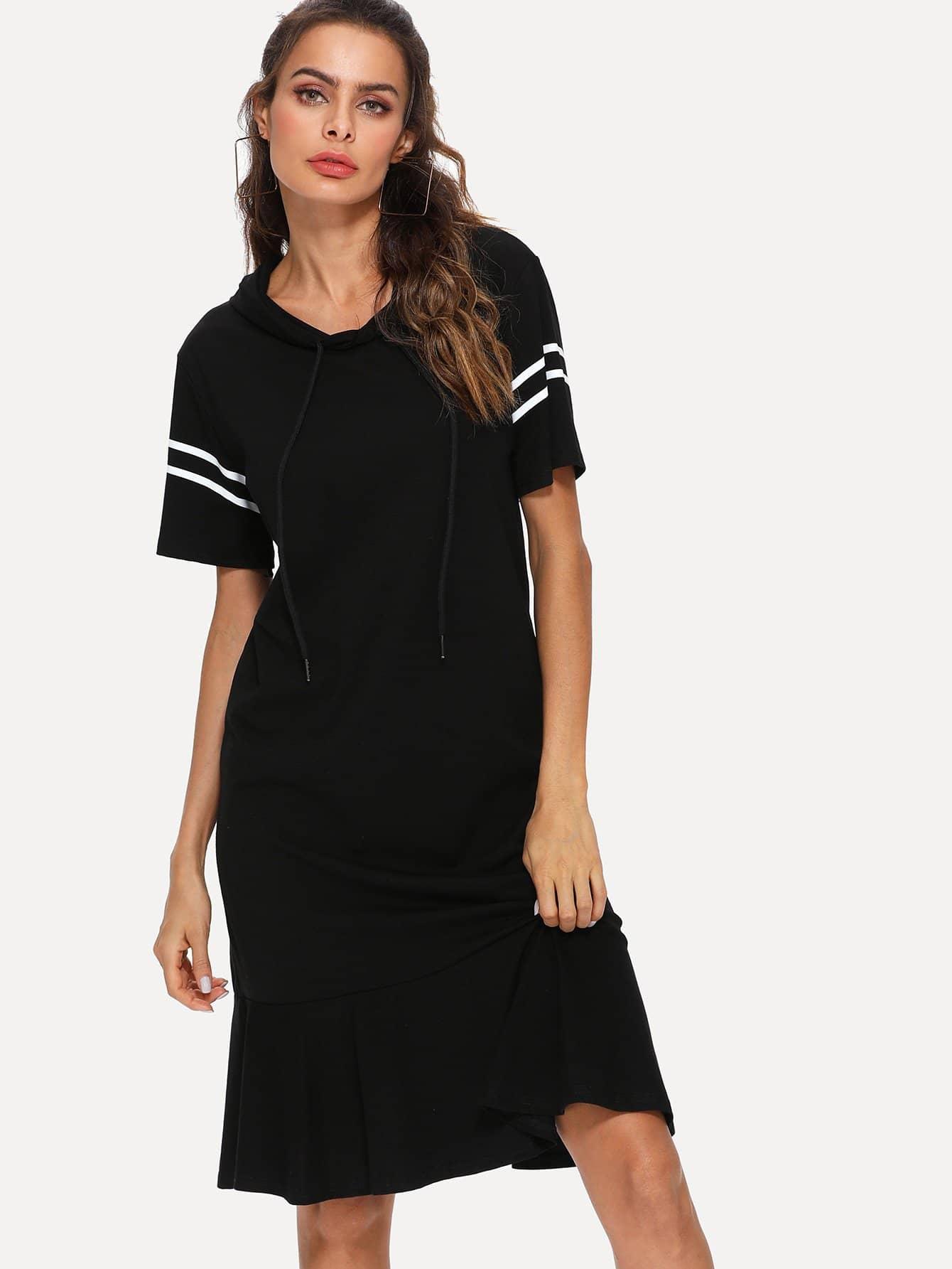 Stripe Contrast Ruffle Hem Hooded Dress stripe contrast ruffle hem hooded dress