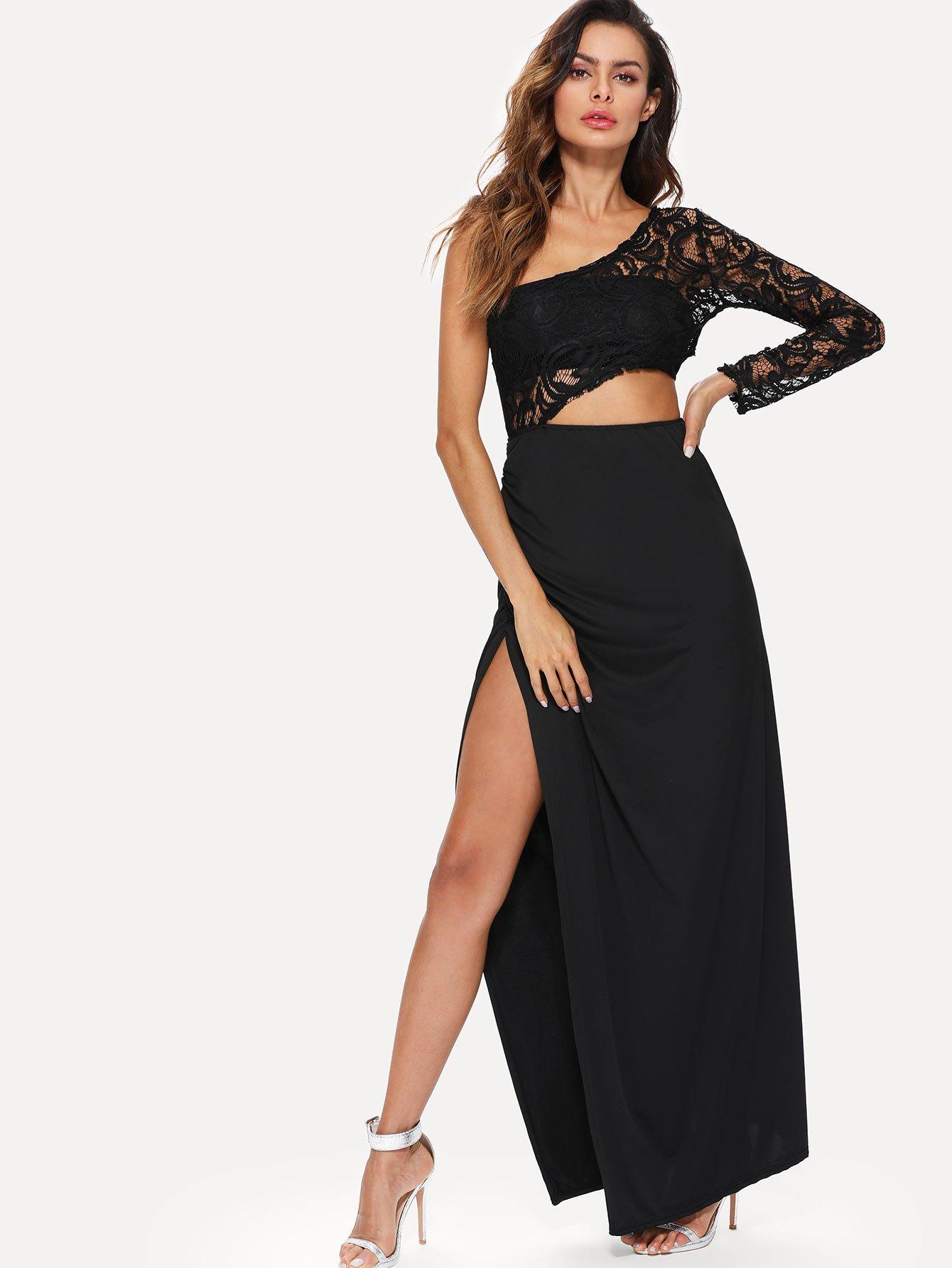 One Shoulder Cut Out Split Side Lace Dress dark coffee side pockets one shoulder mini dress