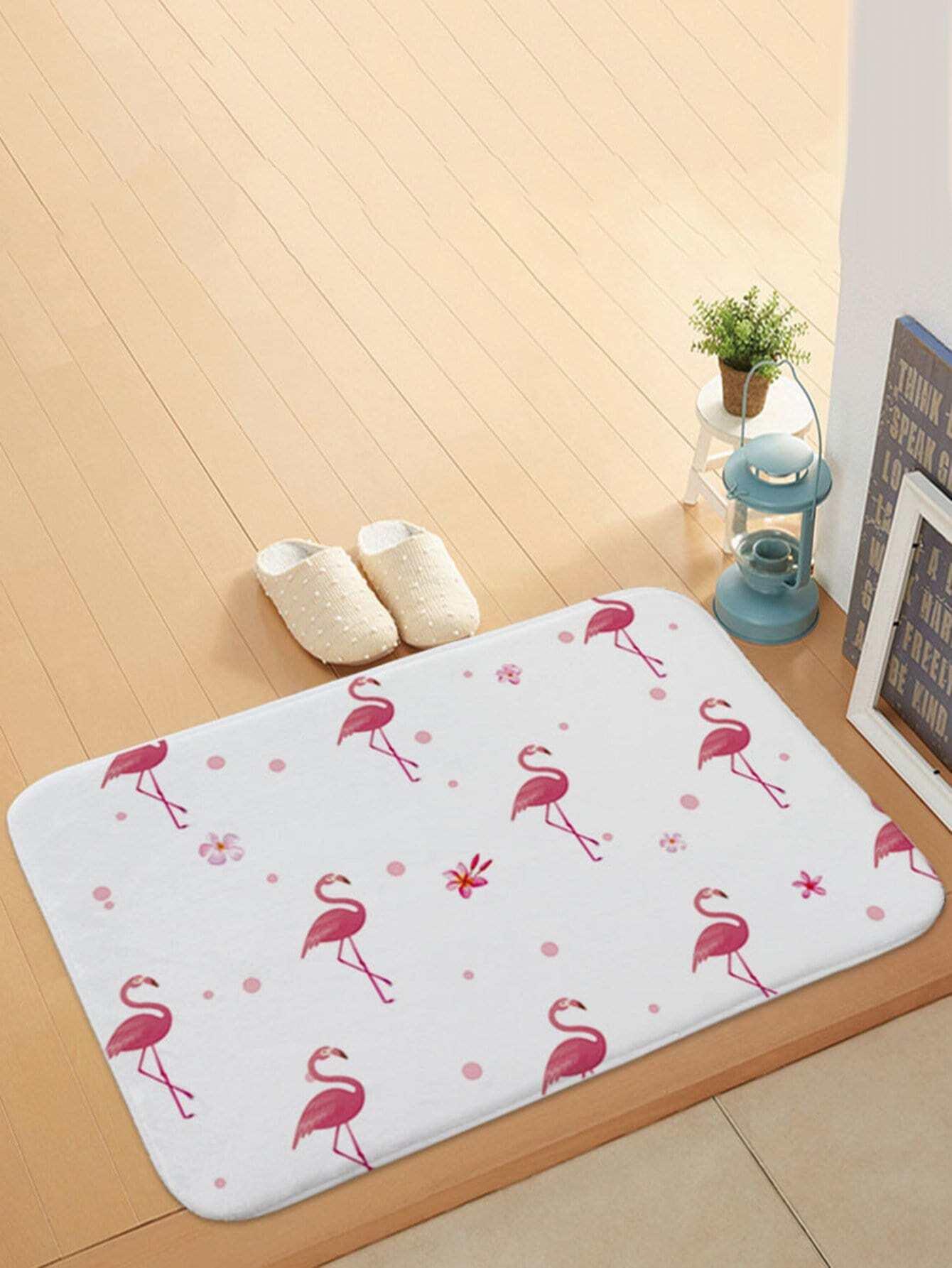 Flamingo Overlay Door Mat feather overlay print door mat