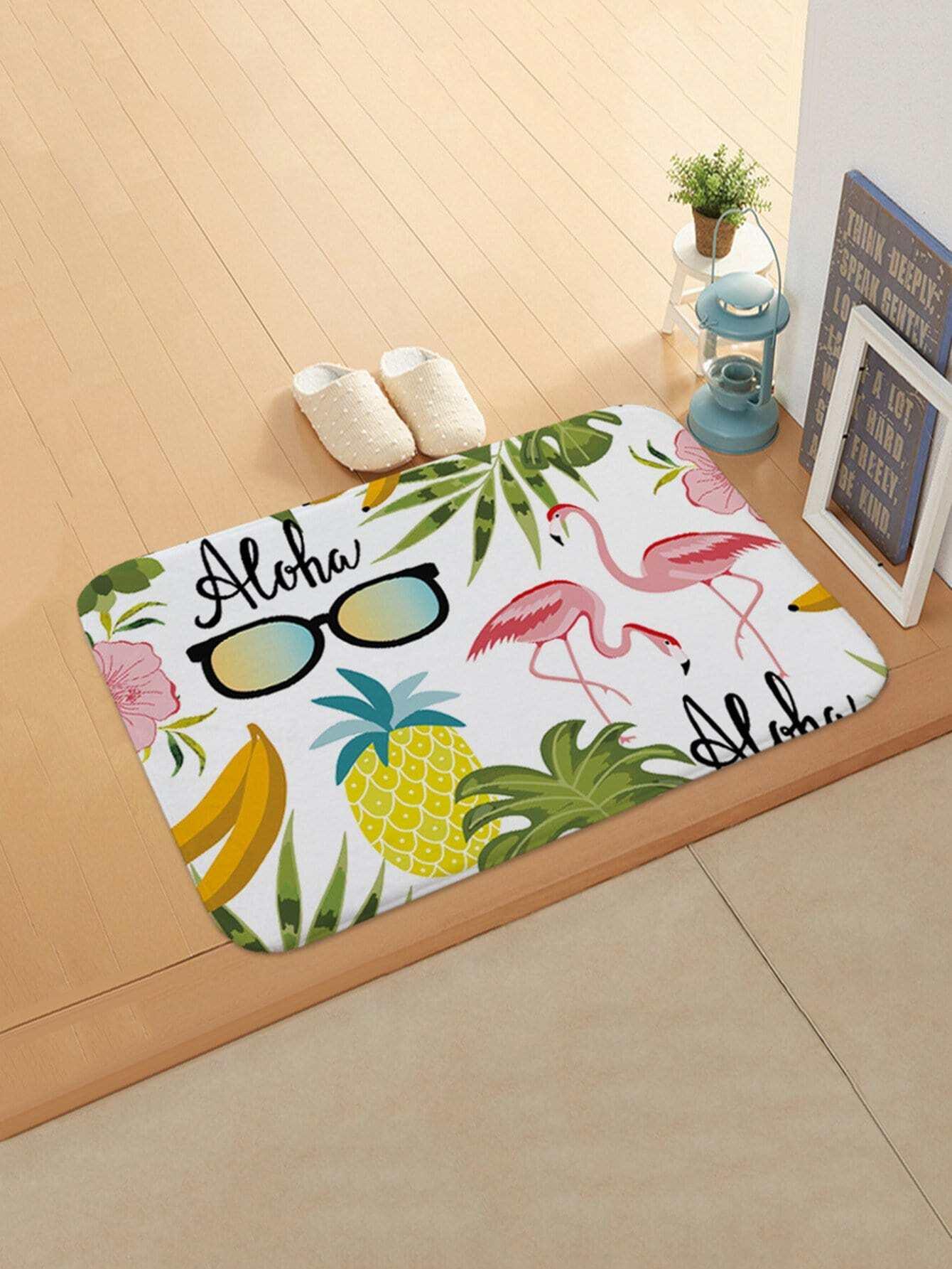 Tropical Print Door Mat sandy beach door mat