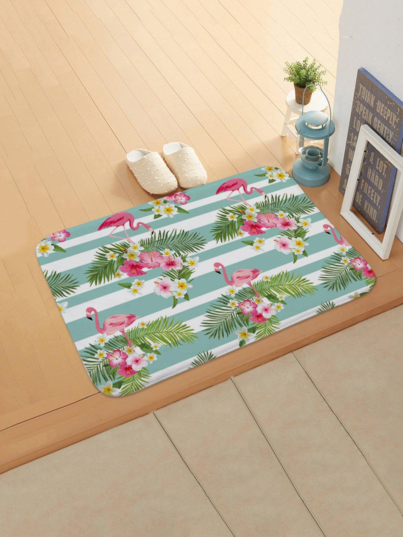 Flamingo Print Door Mat feather overlay print door mat