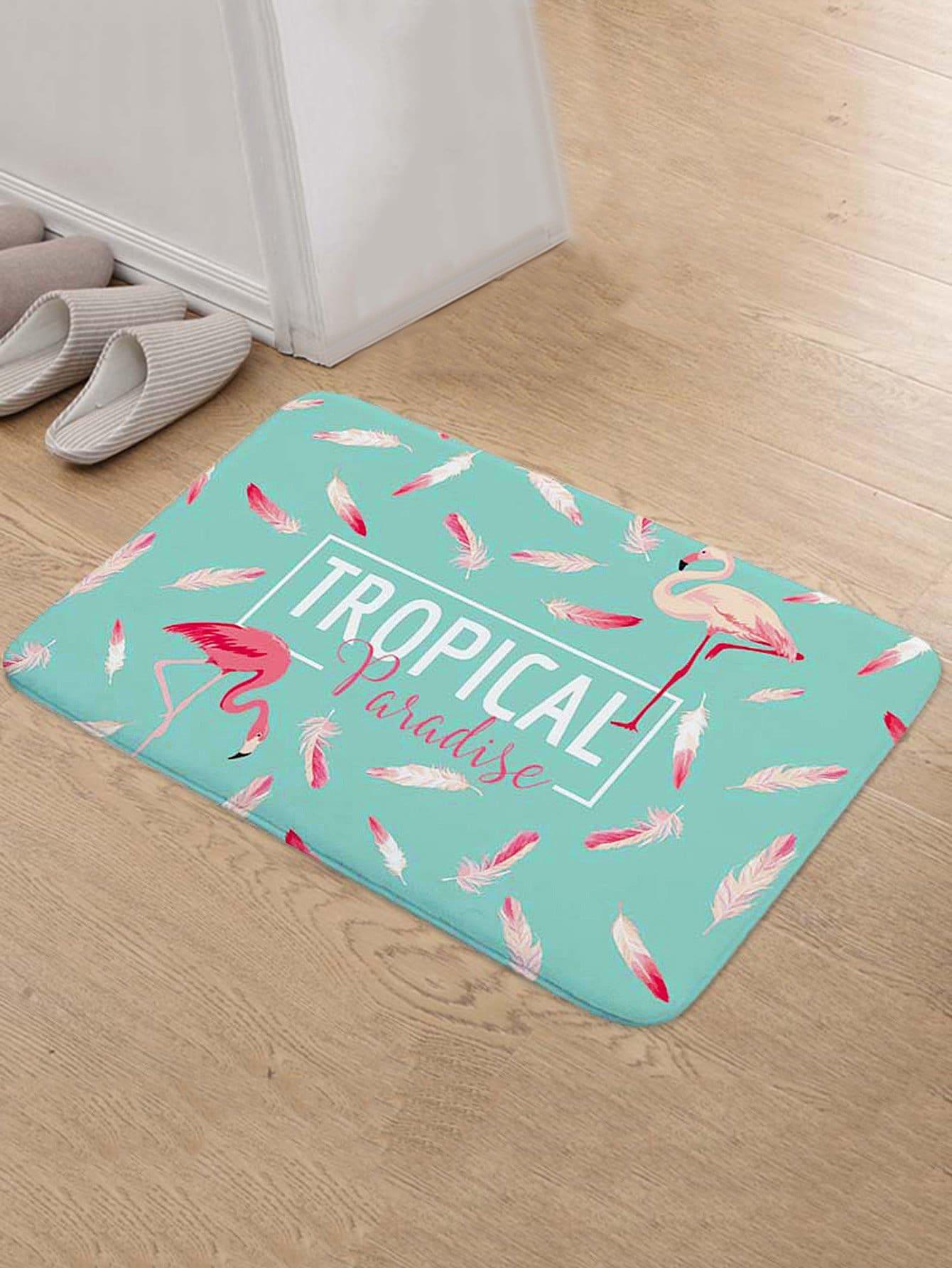 Feather & Flamingo Print Door Mat feather overlay print door mat