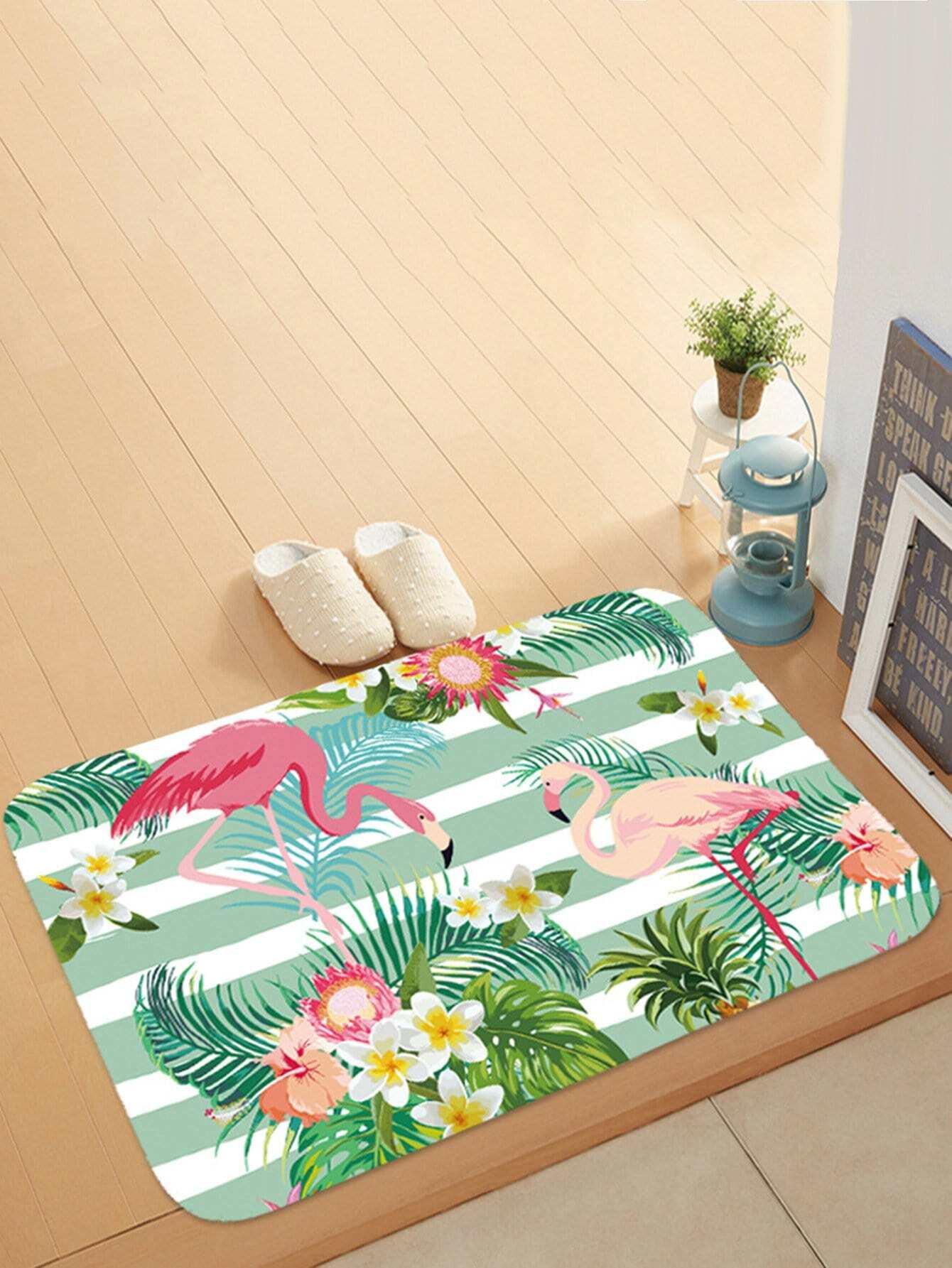 Floral & Flamingo Print Door Mat все цены