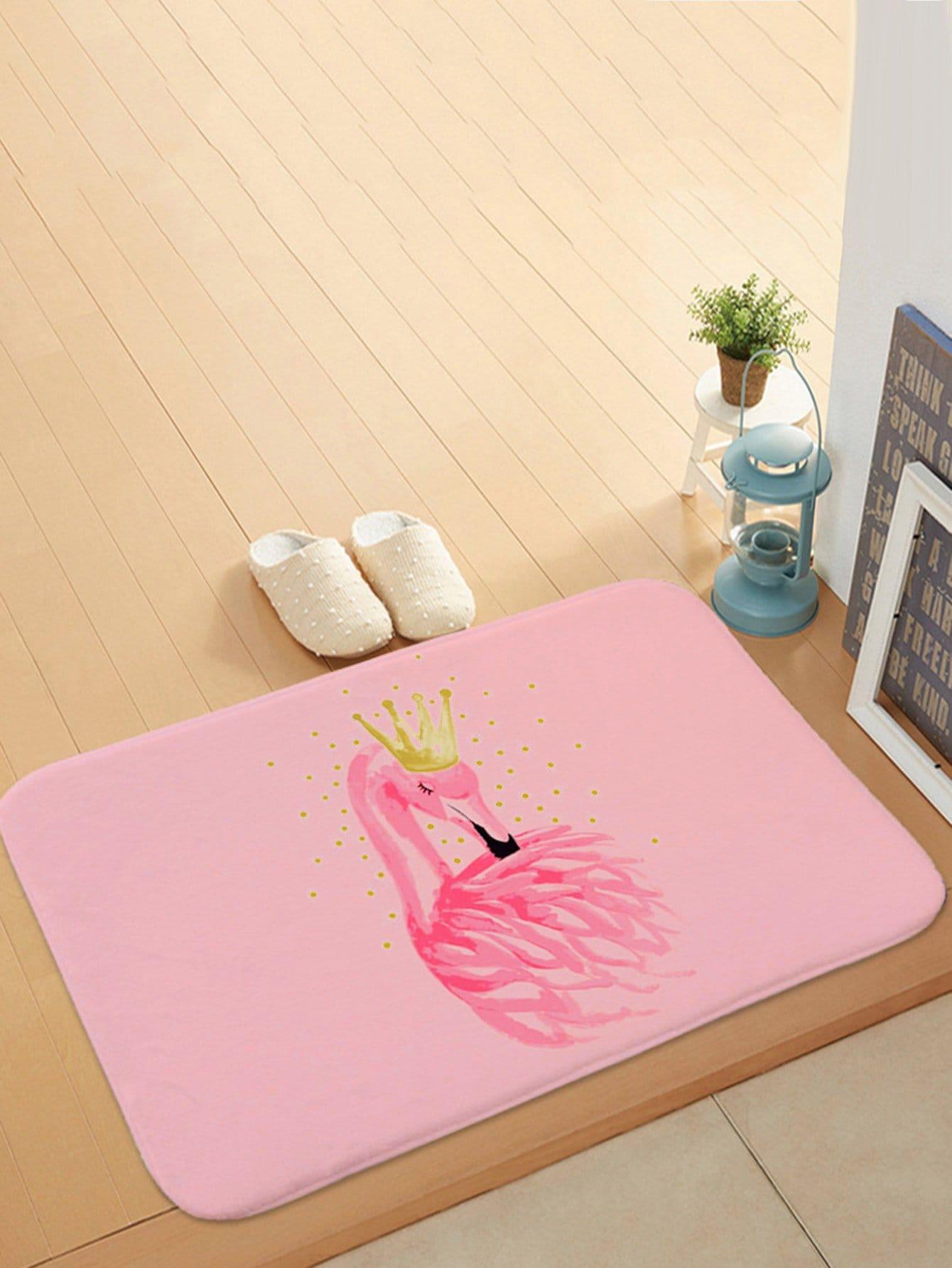 Flamingo With Crown Print Door Mat все цены