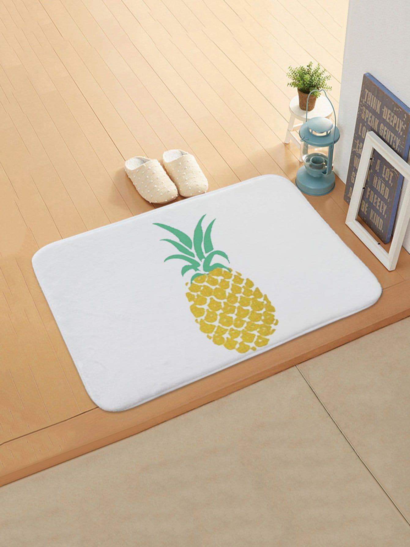 Pineapple Print Door Mat feather overlay print door mat