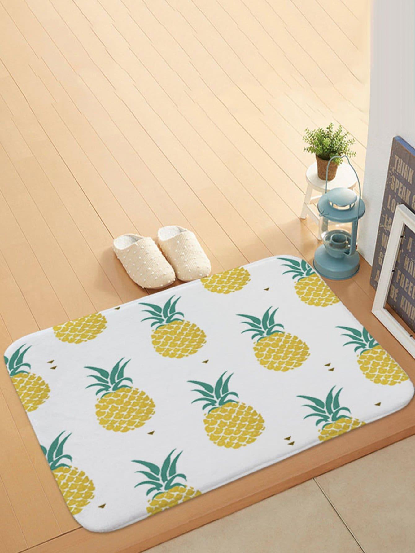 Pineapple Overlay Print Door Mat feather overlay print door mat
