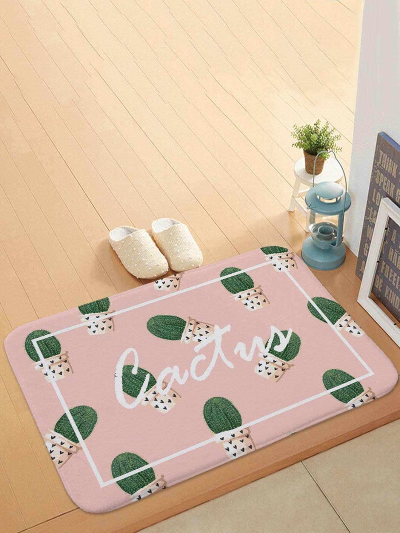 Potted Cactus Overlay Print Door Mat feather overlay print door mat