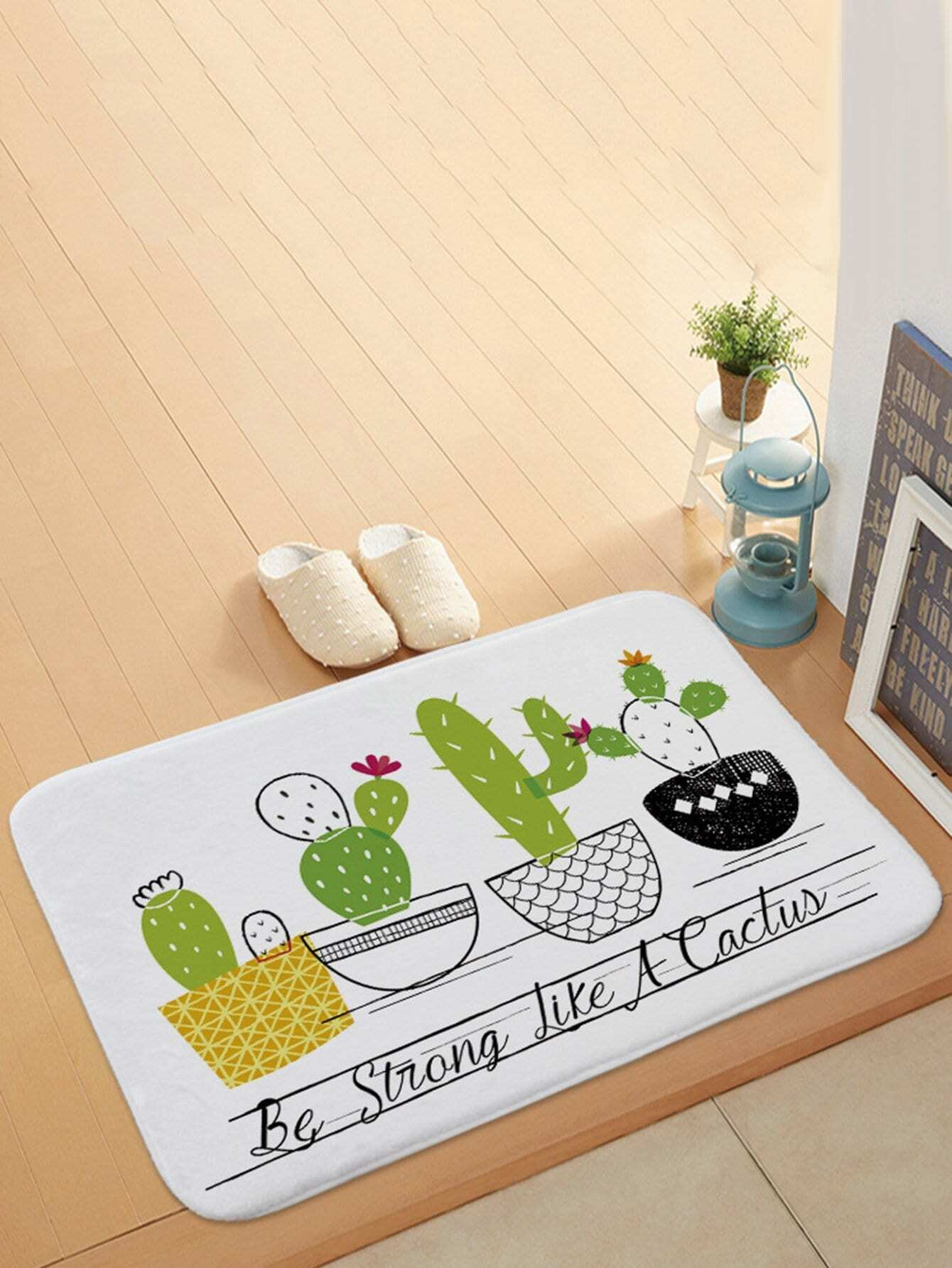 Cartoon Potted Cactus Door Mat sandy beach door mat