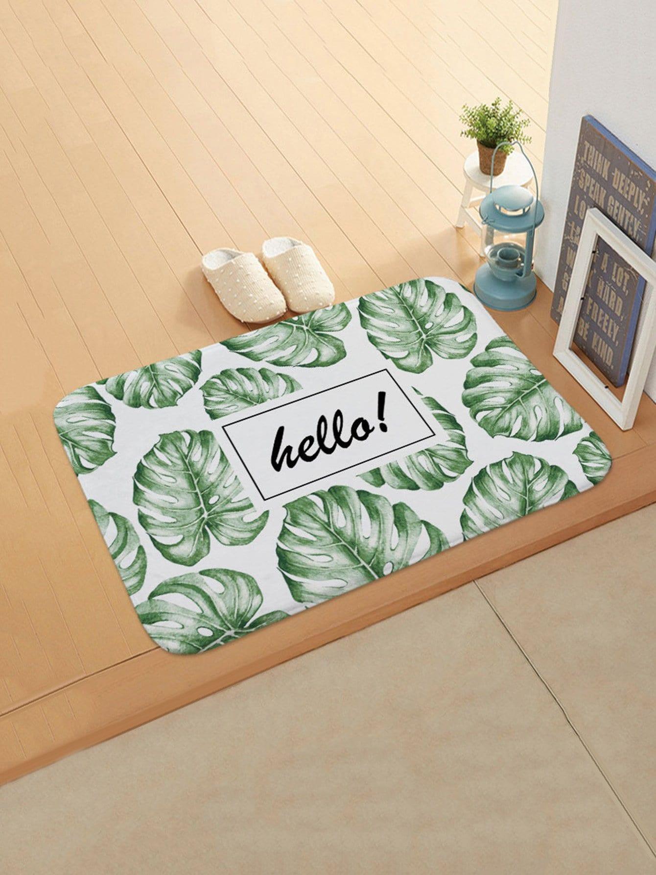 Tropical Overlay Print Door Mat feather overlay print door mat