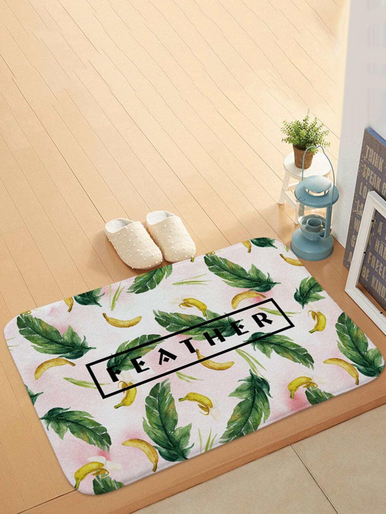 Feather Overlay Print Door Mat feather overlay print door mat