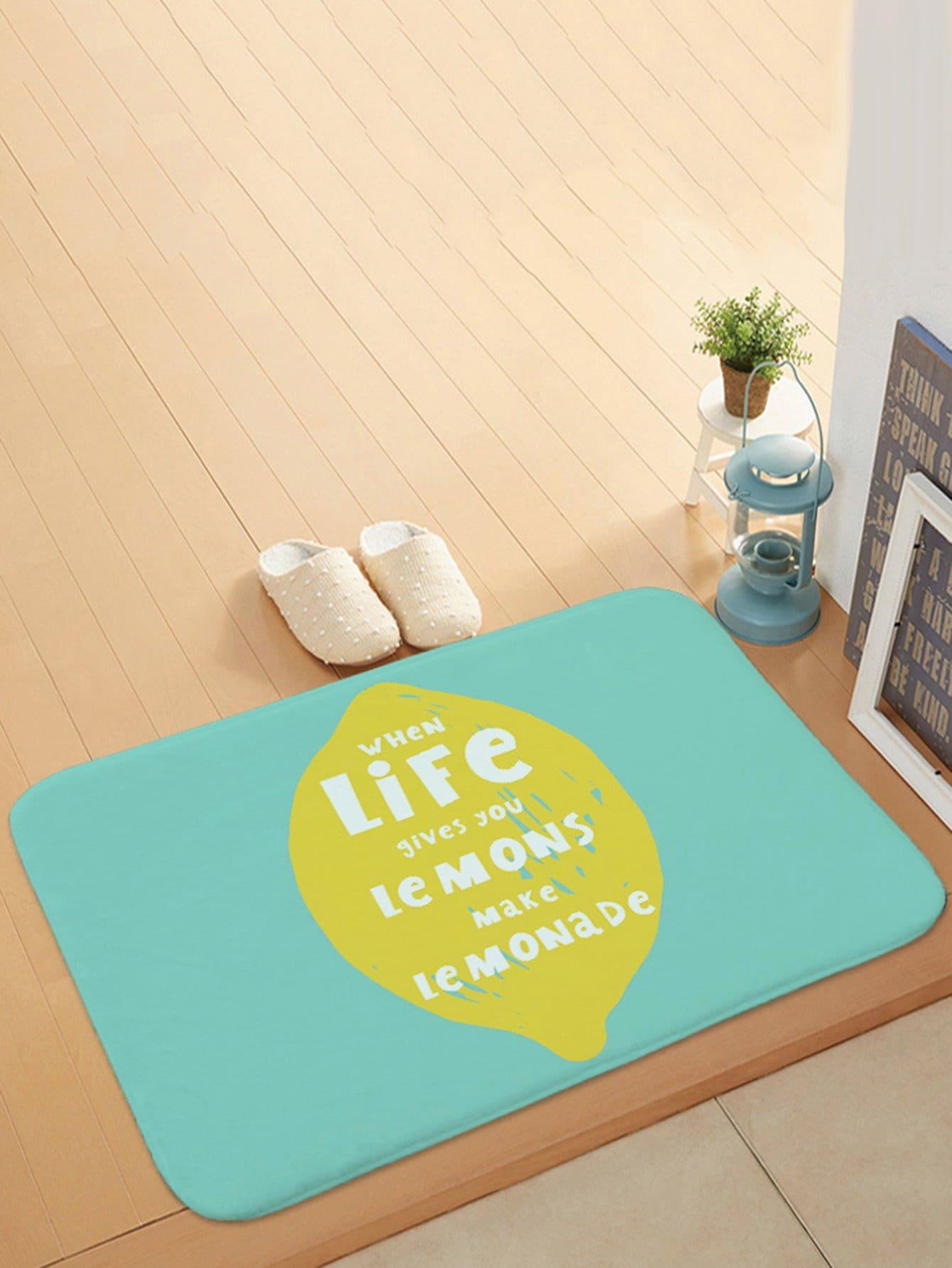 Slogan Print Door Mat feather overlay print door mat