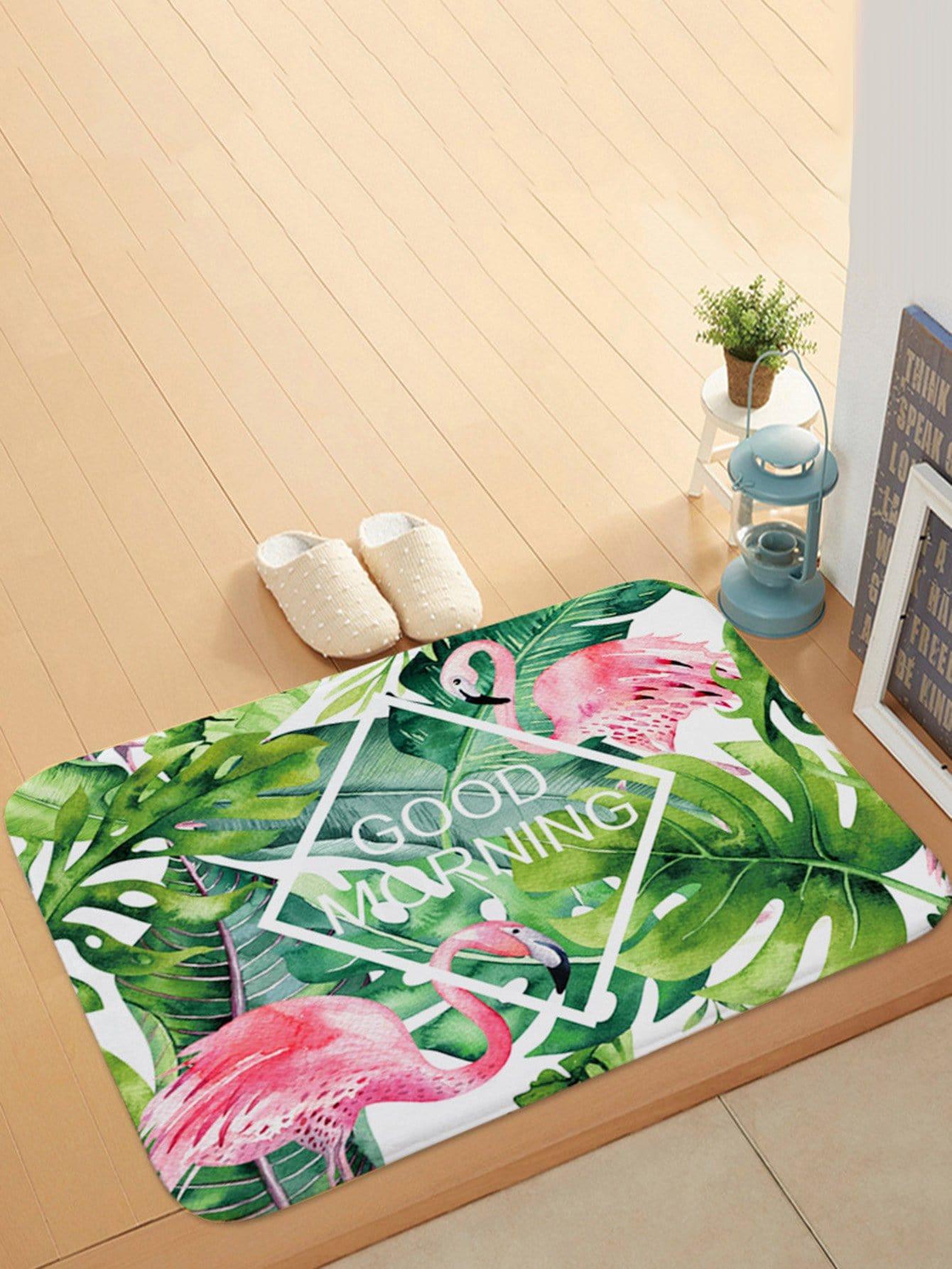 Tropical Print Door Mat feather overlay print door mat