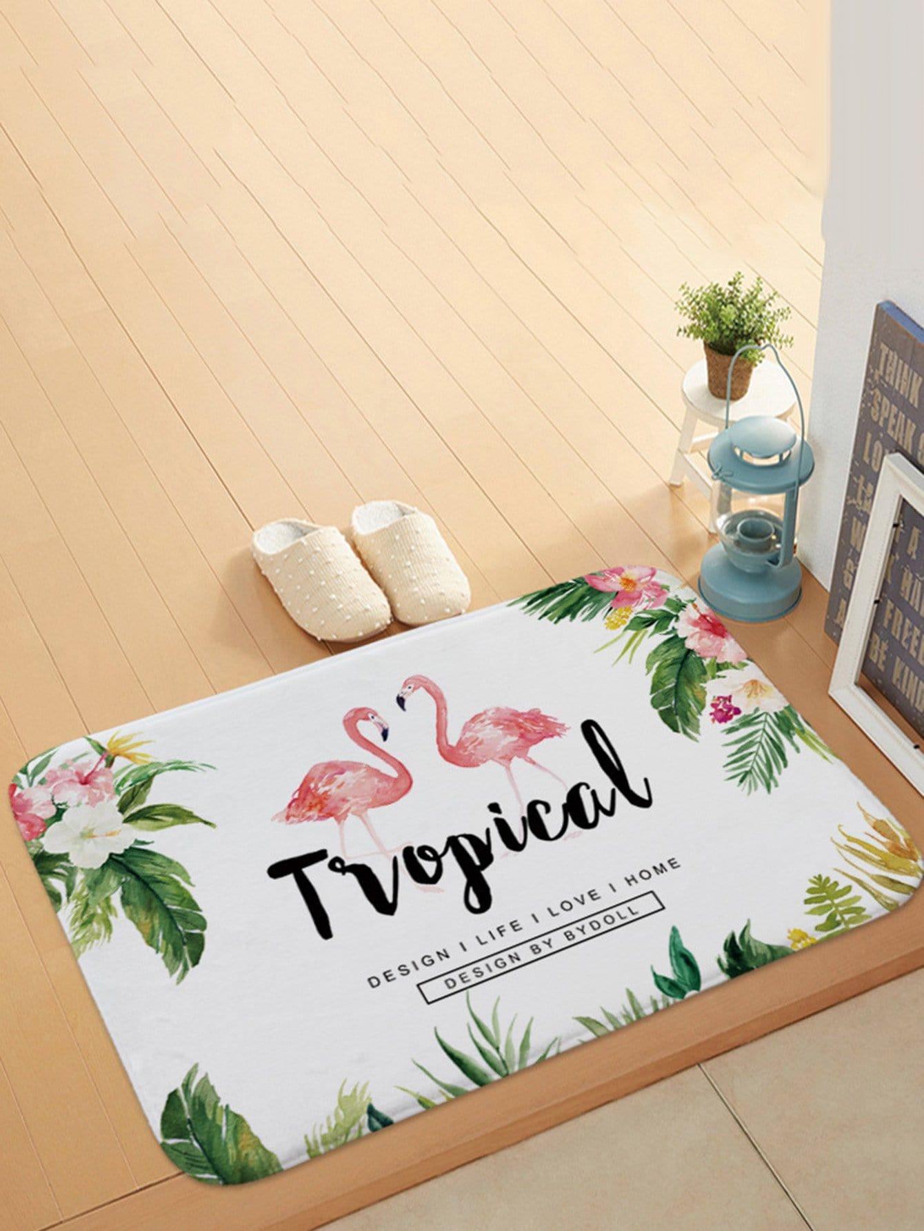 Tropical & Flamingo Print Door Mat все цены