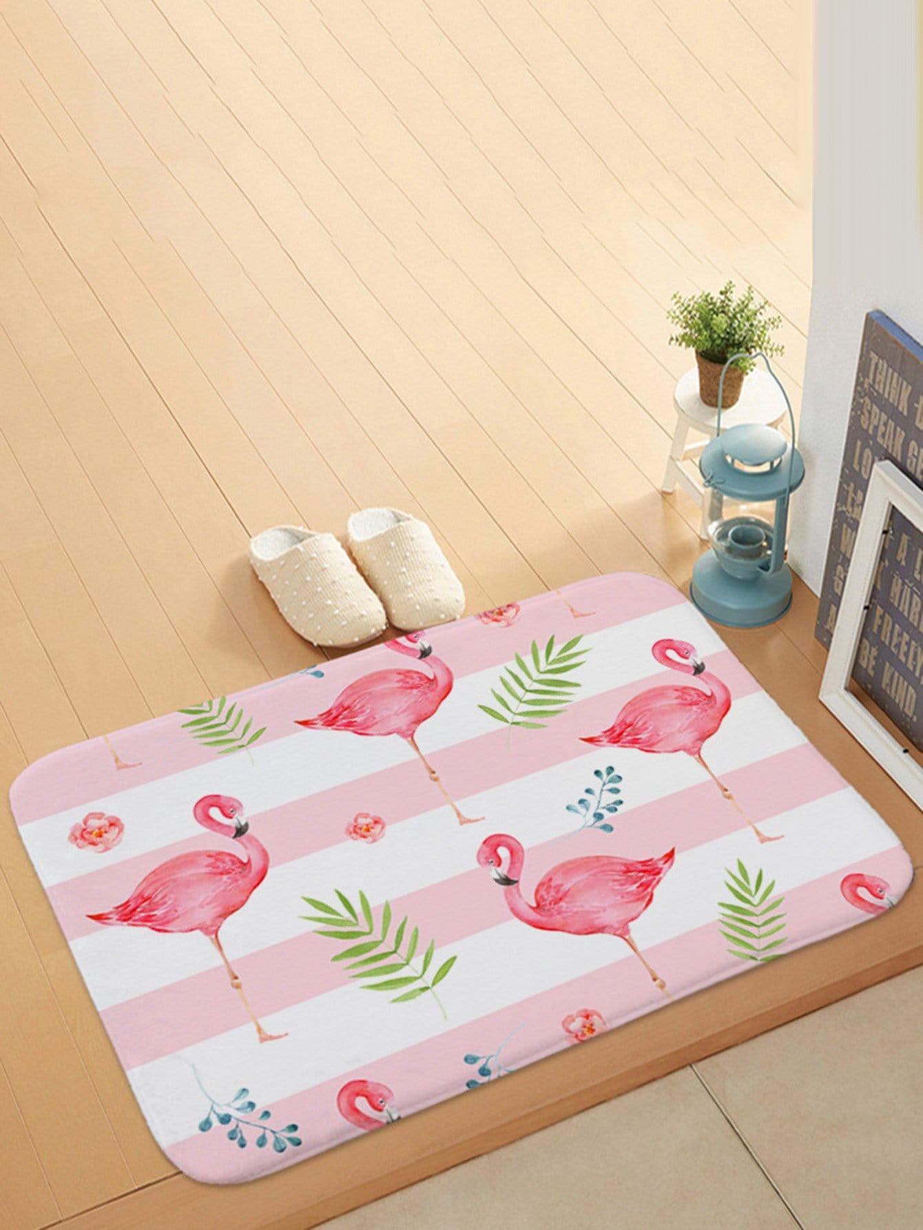 Flamingo Overlay Print Door Mat feather overlay print door mat