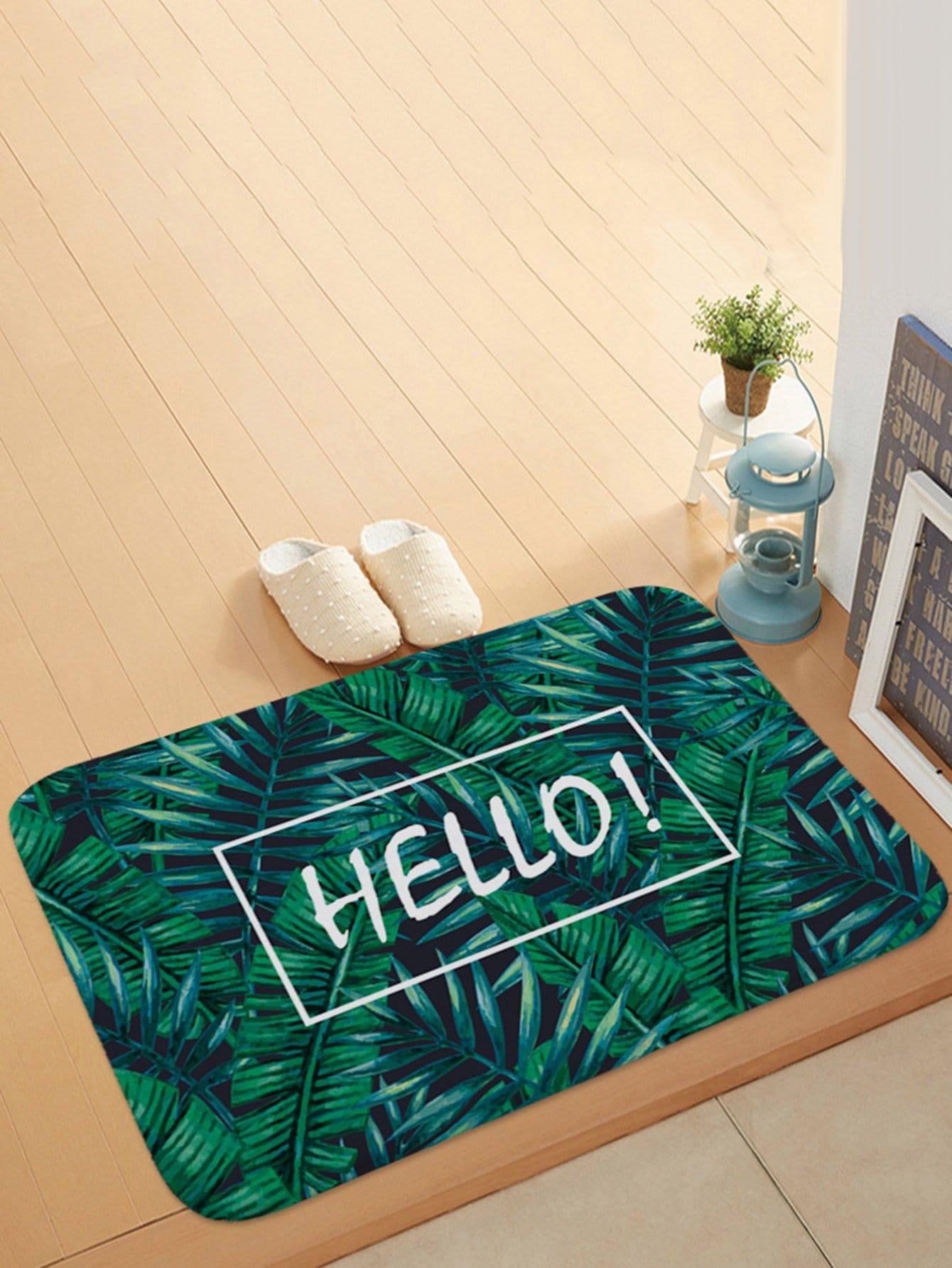 Jungle Print Door Mat feather overlay print door mat