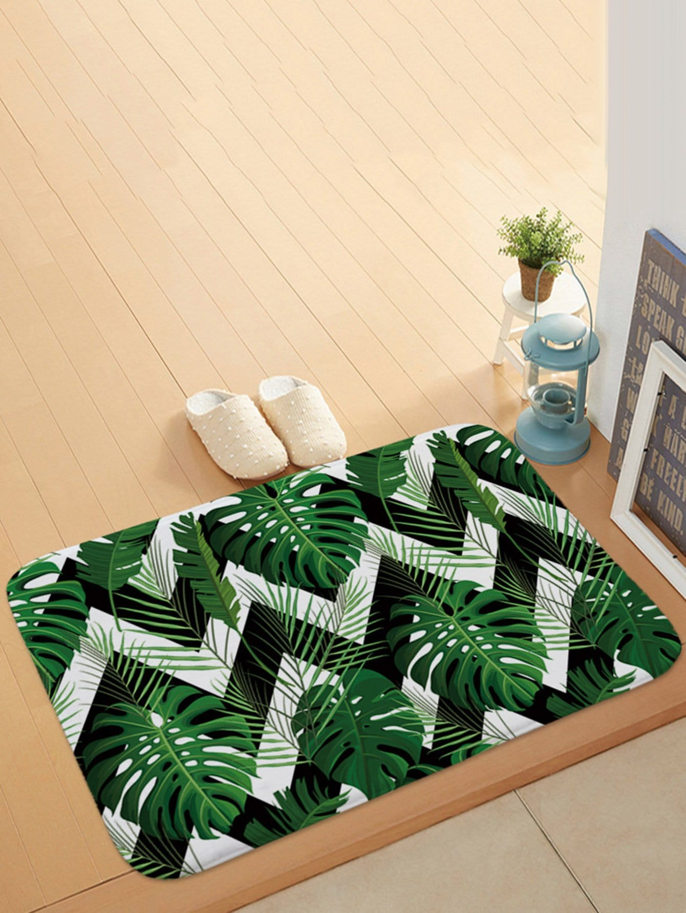 Zigzag & Tropical Print Door Mat